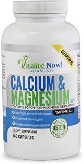Best Calcium & Magnesium + Vitamin D3 400 IU - Highly Absorbable with Boron - 10 Forms of Calcium + Phosphorus for Bone St...