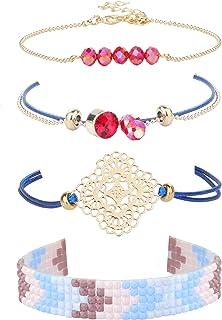 سلاس 4 قطع الأزرق الصداقة سوار اليدوية مجوهرات للنساء قابل للتعديل ستراند أساور مجموعة الصيف بوهو بيتش لينك مجوهرات