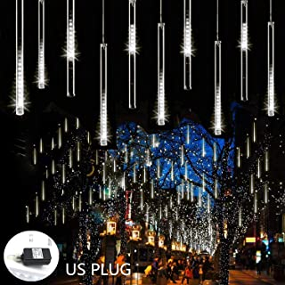 Weepong Rain Drop Lights 30cm 8 Tubes 144 LED Meteor Shower Lights UL Listed Falling Rain Lights Outdoor Icicle Snow Cascading Christmas String Lights for Tree Wedding Party Garden Decoration, White