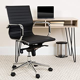 Flash Furniture Mid-Back Black Ribbed LeatherSoft Swivel Conference Office Chair with Knee-Tilt Control and Arms