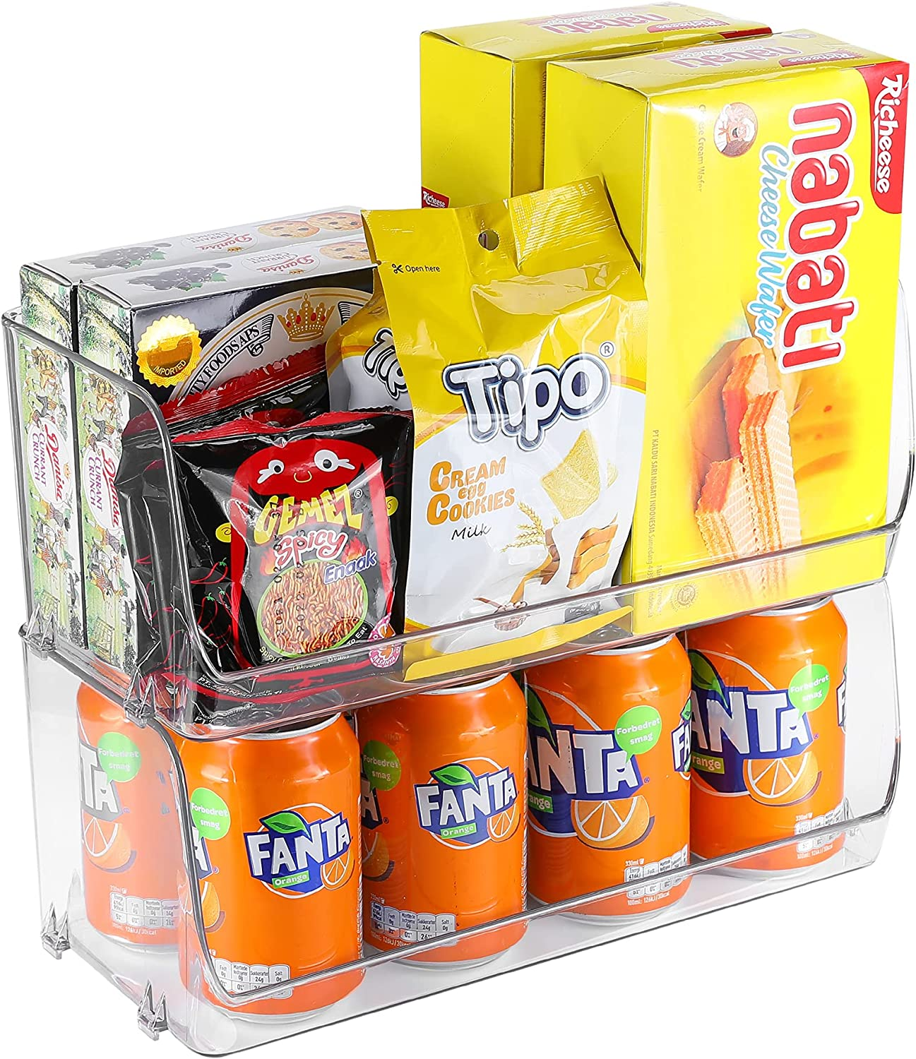 Puricon 2 Set Clear Stackable Plastic Organizer, Open Front Food Storage Bins for Snacks, Drinks, Soups, Spices, Cans, Seasoning Packets Pouches, for Kitchen Pantry Canbinet Countertop Fridge Freezer