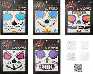 Beaupretty 5 Vellen Dag De Dode Gezicht Tattoo Halloween Gezicht Stickers Enge Schedel Gezicht Sticker Halloween Kostuum V...