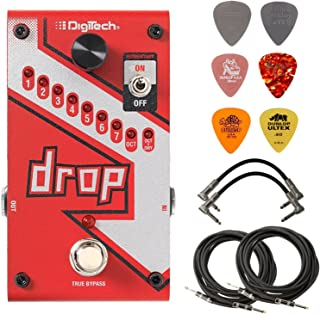 Digitech DROP Polyphonic Drop Tune Pitch-Shifter Pedal Bundle with 2 Patch Cables, 2 Instrument Cables, and 6 Dunlop Picks