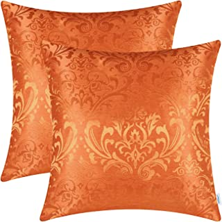 CaliTime Pack of 2 Throw Pillow Covers Cases for Couch Sofa Home Decoration Vintage Damask Floral Shining & Dull Contrast 18 X 18 Inches Bright Orange