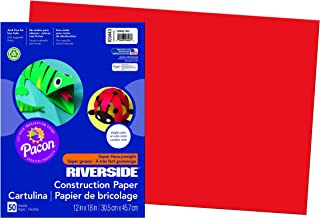 Riverside 3D Construction Paper, Holiday Red, 12