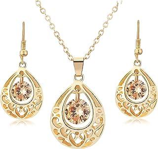 Majesto Jewelry Set Teardrop Necklace Pendant Earrings for Women Teen Little Girls Gift 18K Gold Plated