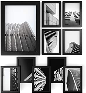 ARTEZA Picture Frames 5 x 7 Display Pictures 10 Pack - Wood Finish Frame - Pure Glass Front - Document & Certificate Frames for Wall - Gallery Wall
