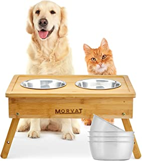 Morvat Elevated Dog and Cat Pet Feeder, Double Bowl Pet Feeding Station, Bamboo Adjustable Dog Food and Cat Food Stand, with 3 Different Height Options and 4 Stainless Steel Pet Bowls