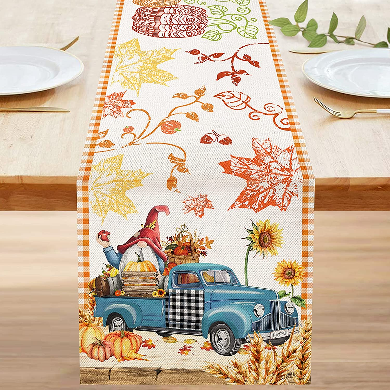 Bonsai Tree Fall Table Runner 72 Inch, Happy Fall Yall Autumn Pumpkins Burlap Table Runners, Primitive Blue Truck Gnome Harvest Small Dresser Scarves Table Cloth Decor for Home Dining Room Parties