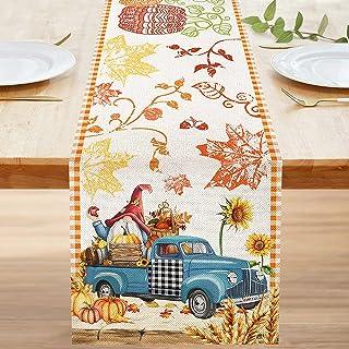 Bonsai Tree Fall Table Runner 72 Inch, Happy Fall Yall Autumn Pumpkins Burlap Table Runners, Primitive Blue Truck Gnome Ha...