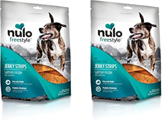 Nulo Freestyle 2 Pack of Grain-Free Jerky Strips Dog Treats, 5 Ounces Each, Salmon Recipe with Strawberry