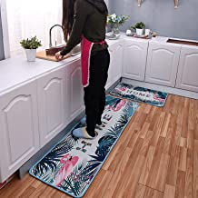 2 stuks antislip keuken mat wasbaar runner gebied tapijt dier flamingo plant blad afgedrukt zacht absorberend bad tapijt d...