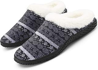 Hommes Pantoufles de Maison Femmes Chaussons Hiver Coton Peluche Mémoire Mousse Accueil Intérieur Chaussures décontractées...