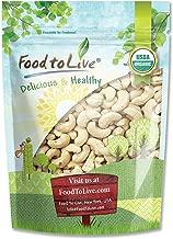 Organic Raw Cashews, 4 Pounds - Large, Whole, Size W-320, Unsalted, Non-GMO, Kosher, Vegan, Bulk