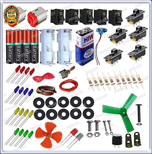 PGSA2Z 80 Items in 1 Kit Loose Electronics Components for Science Fun Experiments with Instruction Manual