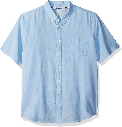 Dockers Hommes's manche longue Linen Button Front Woven Shirt, Airy bleu, Medium