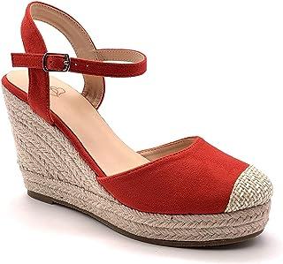 ec6115c428102f Angkorly - Chaussure Mode Sandale Espadrille Bohème Casual Romantique Femme  lanières avec de la Paille tressé