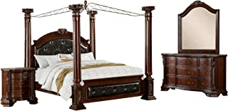 HOMES: Inside + Out 4 Piece ioHOMES Felder Canopy Bed Set, Queen, Cherry