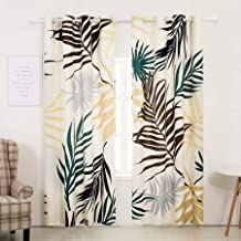 Subrtex Spring Leaves Printed Blackout Thermal Insulated Bedroom/Living Dining Room Grommet Top Curtains for Home and Office (52'' x 84'' 2 Panels, Yellow),