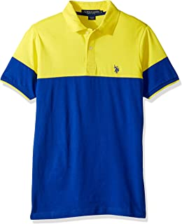 Men's Short Sleeve Classic Fit Color Block Jersey Polo Shirt
