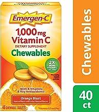 Emergen-C Chewable (40 Count, Orange Blast Flavor) Dietary Supplement Chewable Tablet with 1000mg