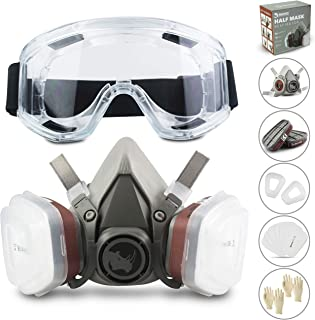 RSM Reusable Safety Face Cover Set for Painting, Dust, Machine Polishing, Vapors with Filter Cotton, Glasses and Gloves fo...