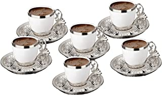 Fancy Turkish Coffee Cup Saucers Set of 6, Porcelain 4 oz. Turkish Coffee Set, Espresso Cup Set, Greek Coffee, Demitasse C...