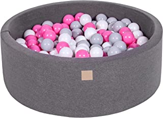 MEOWBABY Foam Ball Pit 35 x 11.5 in /200 Balls Included ∅ 2.75in Round Ball Pool for Baby Soft Round Ball Pool Children