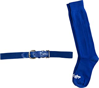 Rawlings BLTSOCKM-Blue Baseball Belt & Sock Combo (Youth Medium/Blue)