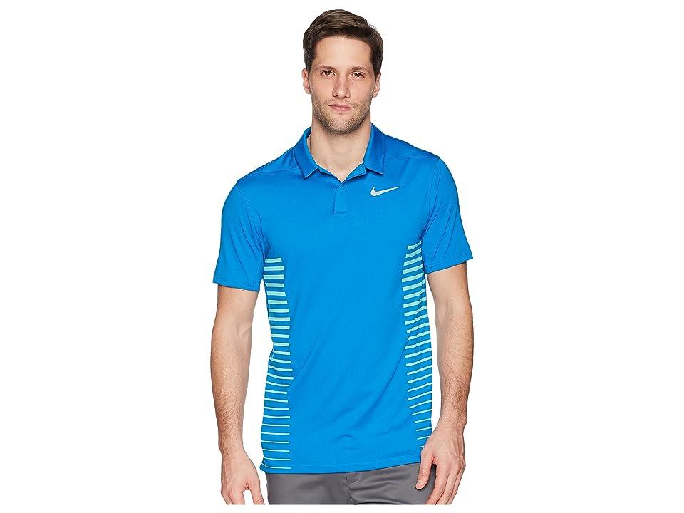 Nike Golf Zonal Cooling Print Polo (Blue Nebula/Green Glow/Flat Silver) Men