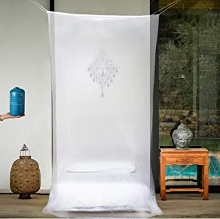 EVEN NATURALS Luxury Mosquito Net for Bed Canopy, Tent for Single to Twin XL, Camping Screen House, Finest Holes Mesh 380, Square Netting Curtain for Bunk Bed, 1 Entry, Easy Installation, Storage Bag