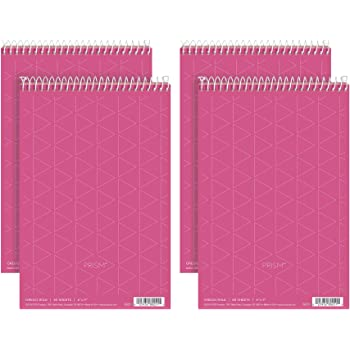 """TOPS Prism Steno Books, 6"""" x 9"""", Gregg Rule, Pink Paper, Perforated, 80 Sheets, 4 Pack (80254)"""