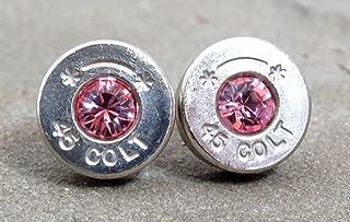 Bullet Earrings Silver 45 Colt and Swarovski Rose Quartz Pink Crystals