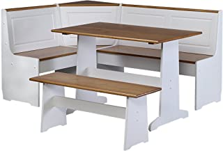 Best white corner nook kitchen table Reviews