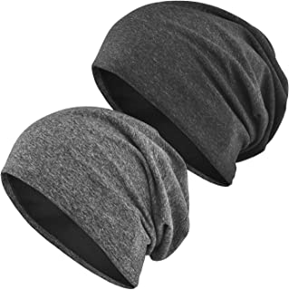 EINSKEY Beanie for Men/Women, 2-Pack Slouchy Thin Knit Hat Multifunctional Headwear for Sport, Chemo, Sleep, Hair Loss