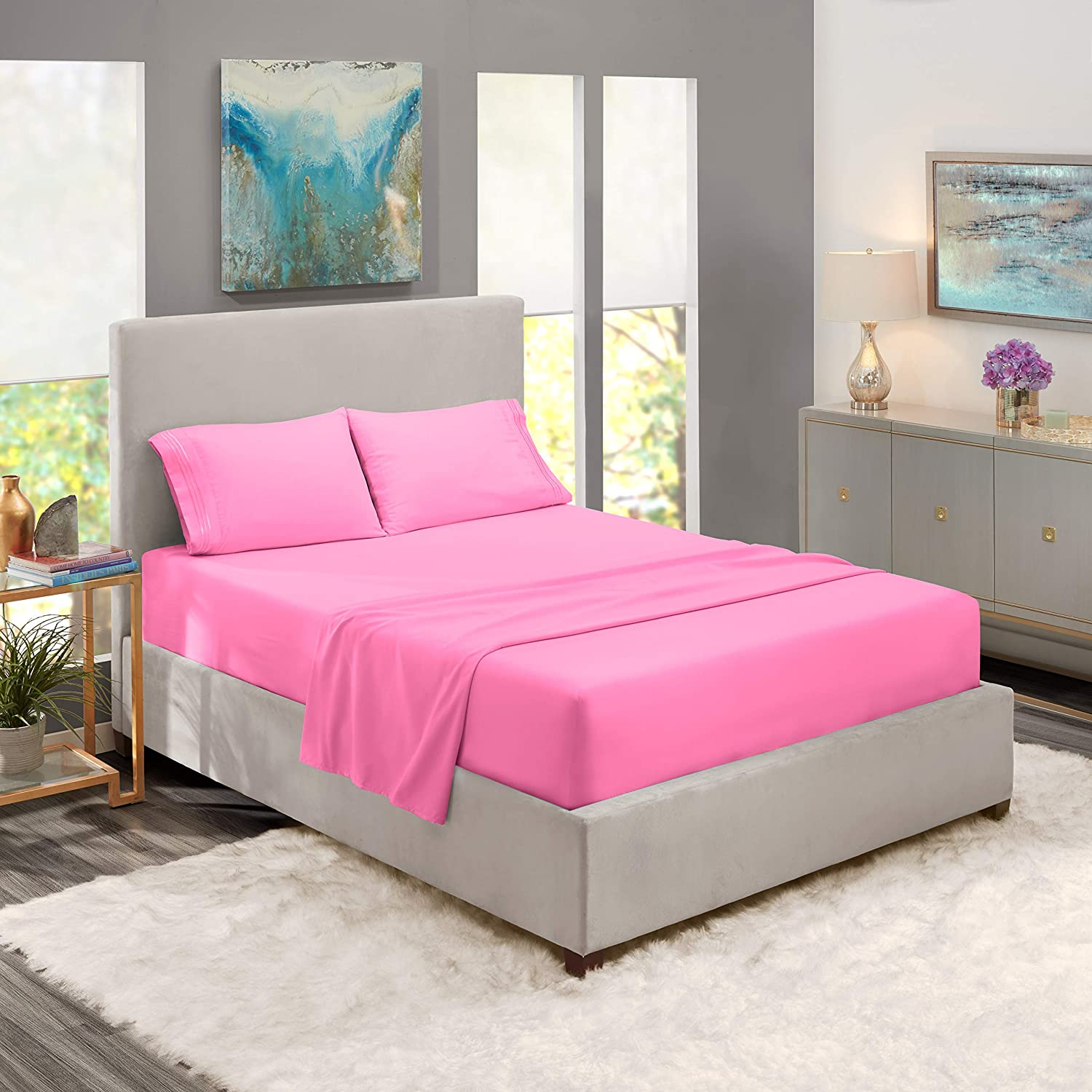 Nestl Deep Pocket Cal King Sheets 4 Piece Cal King Size Bed Sheets with Fitted Sheet, Flat Sheet, Pillow Cases Extra Soft Set with Deep Pockets for CK Size - Light Pink