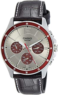 Casio Men's Grey Dial Leather Analog Watch - MTP-1374L-7A1VDF