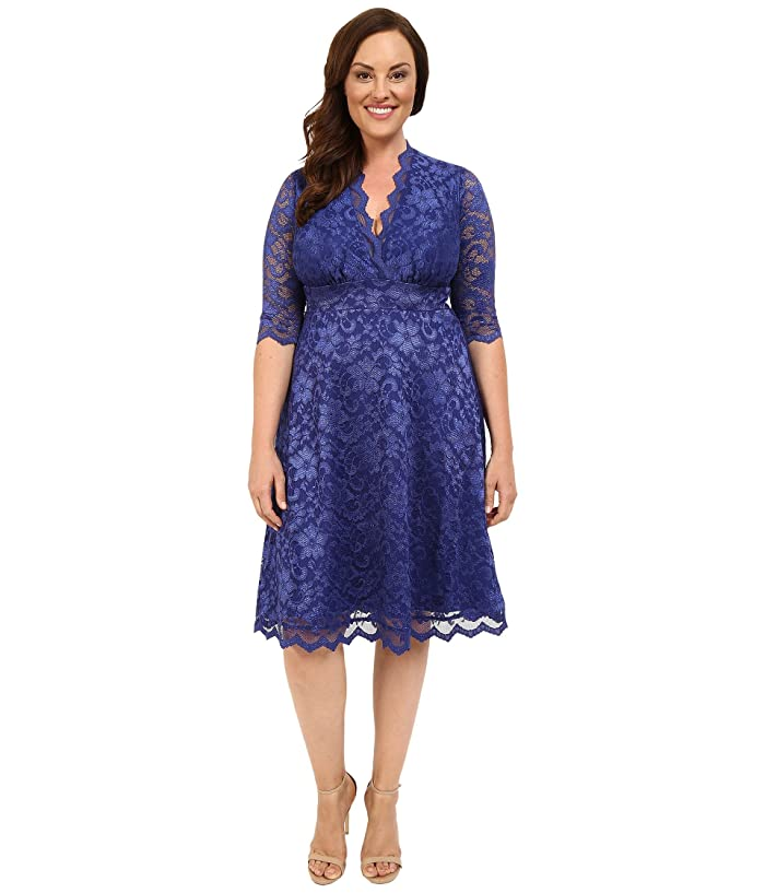 Kiyonna Mademoiselle Lace Dress (Sapphire Blue) Women's Dress