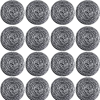 16 PCS Stainless Steel Sponges Scrubbers Cleaning Ball Utensil Scrubber Density Metal Scrubber Scouring Pads Ball for Pot Pan Dish Wash Cleaning for Removing Rust Dirty Cookware Cleaner (16 Packs)