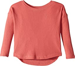 Waffle-Knit Cotton-Blend Top (Little Kids)