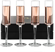 Champagne Flutes Set of 4 - Hand-Blown Crystal Mimosa Glasses - Unique Champagne Glasses for Sparkling Wine and Cocktail -...