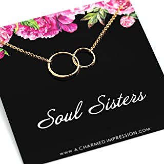 Gift for Best Friends • Soul Sisters Gold Necklace • Friendship Necklace • Unbiological Sister Gifts • Friend Birthday Gifts • Necklaces for 2 3 4 • Two Connected Circles • Friendship Gifts for Women
