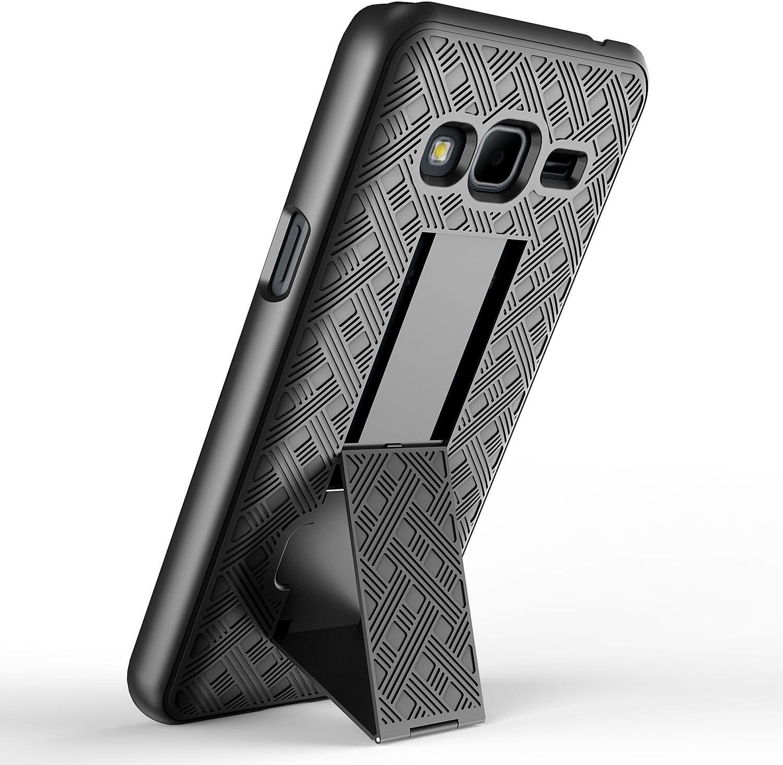 ZASE Case for Samsung Galaxy J3 Case J3 V, Galaxy Express Prime, Galaxy Sky & Sol, Galaxy Amp Prime, Swivel Belt Clip Holster Armor Slim Protective Case Defender [Kickstand] (Black Holster Combo Case)