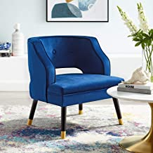 Modway Traipse Button Tufted Open Back Performance Velvet Armchair, Navy