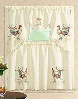 All American Collection New 3pc Embroidered Kitchen Curtain Set Various Designs (Swag Valance, Colored Rooster)