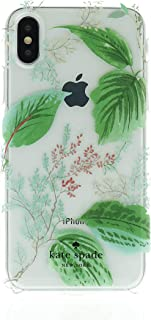 Kate Spade New York Phone Case | Apple iPhone X - iPhone Xs | Protective Cover with New Slim Design, Drop Protection - Green/Leaf/Clear