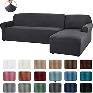 CHUN YI 2 Pieces L-Shaped Right Chaise Jacquard Polyester Stretch Fabric Sectional Sofa Slipcovers Dust-Proof L Shape Corner 2 Seats Sofa Cover Set for Living Room (Gray)