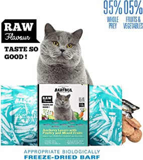 BARFBOX Freeze-Dried Barf Complete Raw Cat Food High Protein, Formula Anchovy Lover & Poultry Mixed Fruits, Daily Nutrients Essential Recipe Healthy for Long & Short Hair Cat, Kitten 30 g.