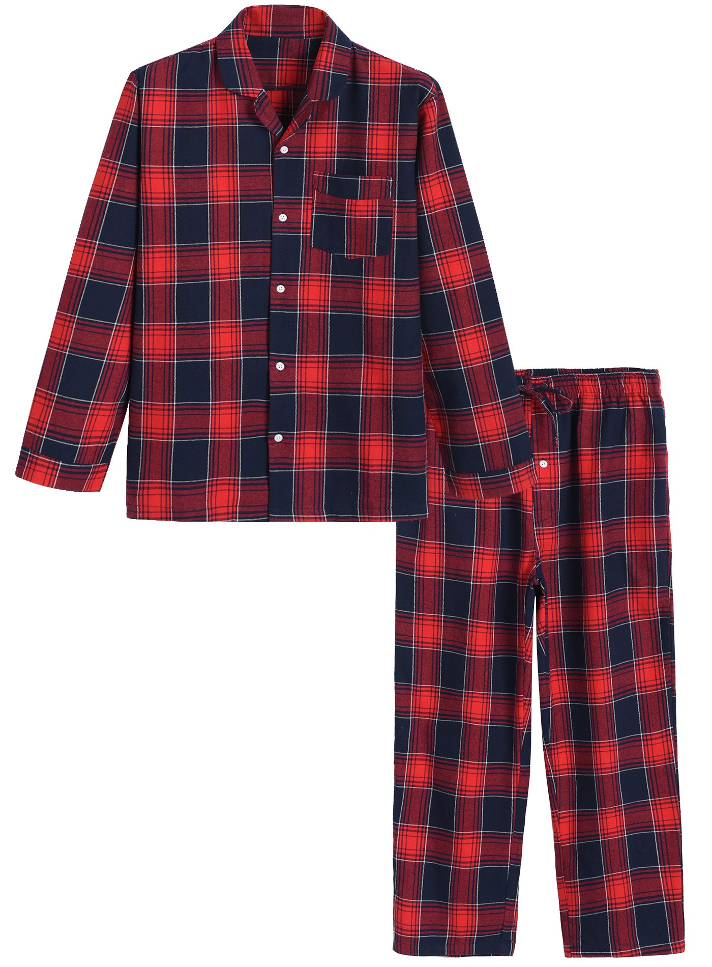 Image of Comfortable Red Plaid Flannel Pajamas - See More Colors