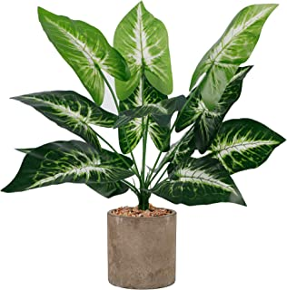 winemana 18 Artificial Potted Green Leaf Plants in Pot, Fake Small Houseplants for Indoor, Home, Living Room, Office, Tabl...